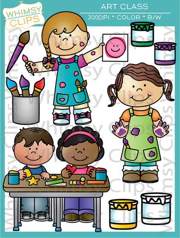 The art class clip art set contains 36 image files, which includes 22 color images and 14 black and white images in png and jpg. All images are 300dpi for better scaling and printing. $