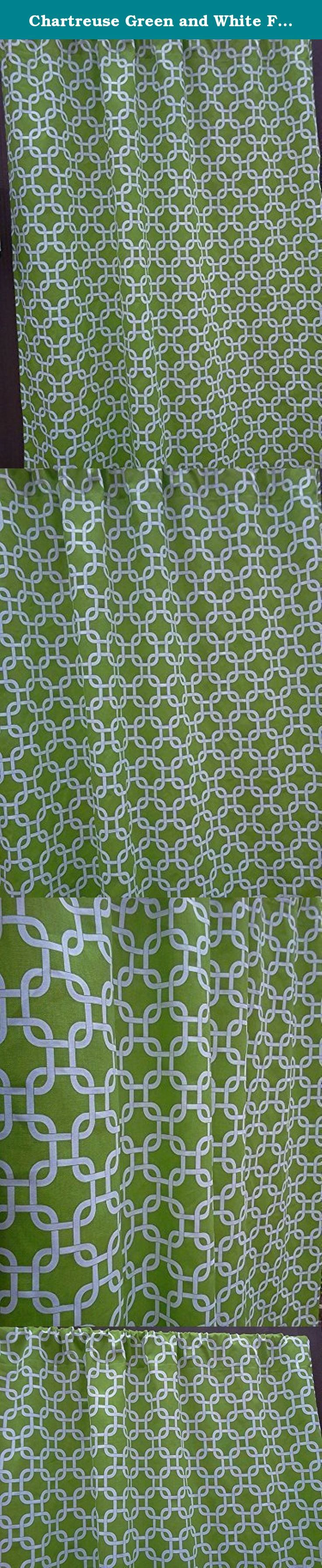 "Chartreuse Green and White Full Length Curtains Interlocking Squares 84 Inches Long and 52 Inches Wide Set of Two. Chartreuse Green and White Full Length Curtains, Two 84"" Full Length Curtains; 100% quality cotton, Premier Prints home décor weight drapery fabric. Please allow 7-14 days for delivery, as the curtains are handmade after your purchase to keep inventory costs low. Keeping inventory costs low helps keep the price of this item at a reasonable price. The curtain is ~52"" wide and…"