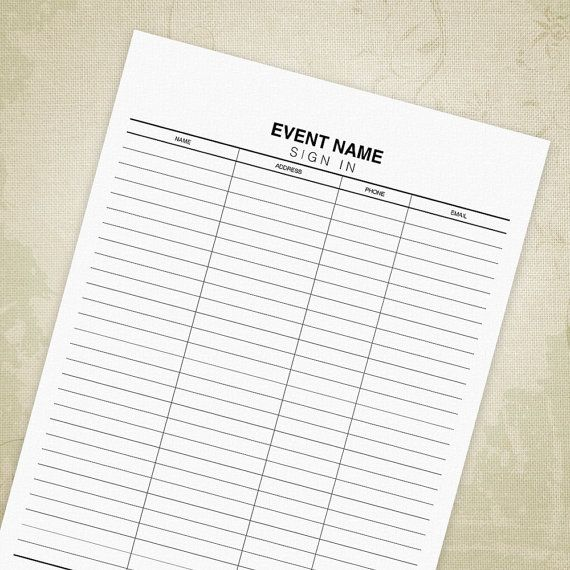 Sign In Out Sheet PDF, General Use, Signature List, Admission Chart - Editable Custom Template #signinoutform #signinoutprintables