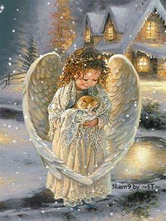 Little Angel & kitten (animated snow)