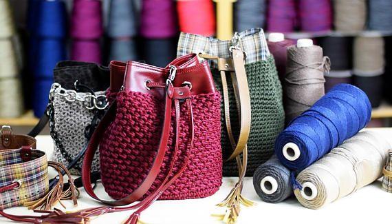 DIY Pouch Bag kit crochet leather bag craft kit crochet bag