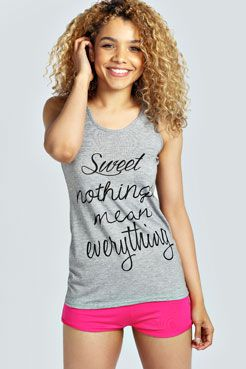 Bea Sweet Nothings Mean Everything Short PJ Set at boohoo.com