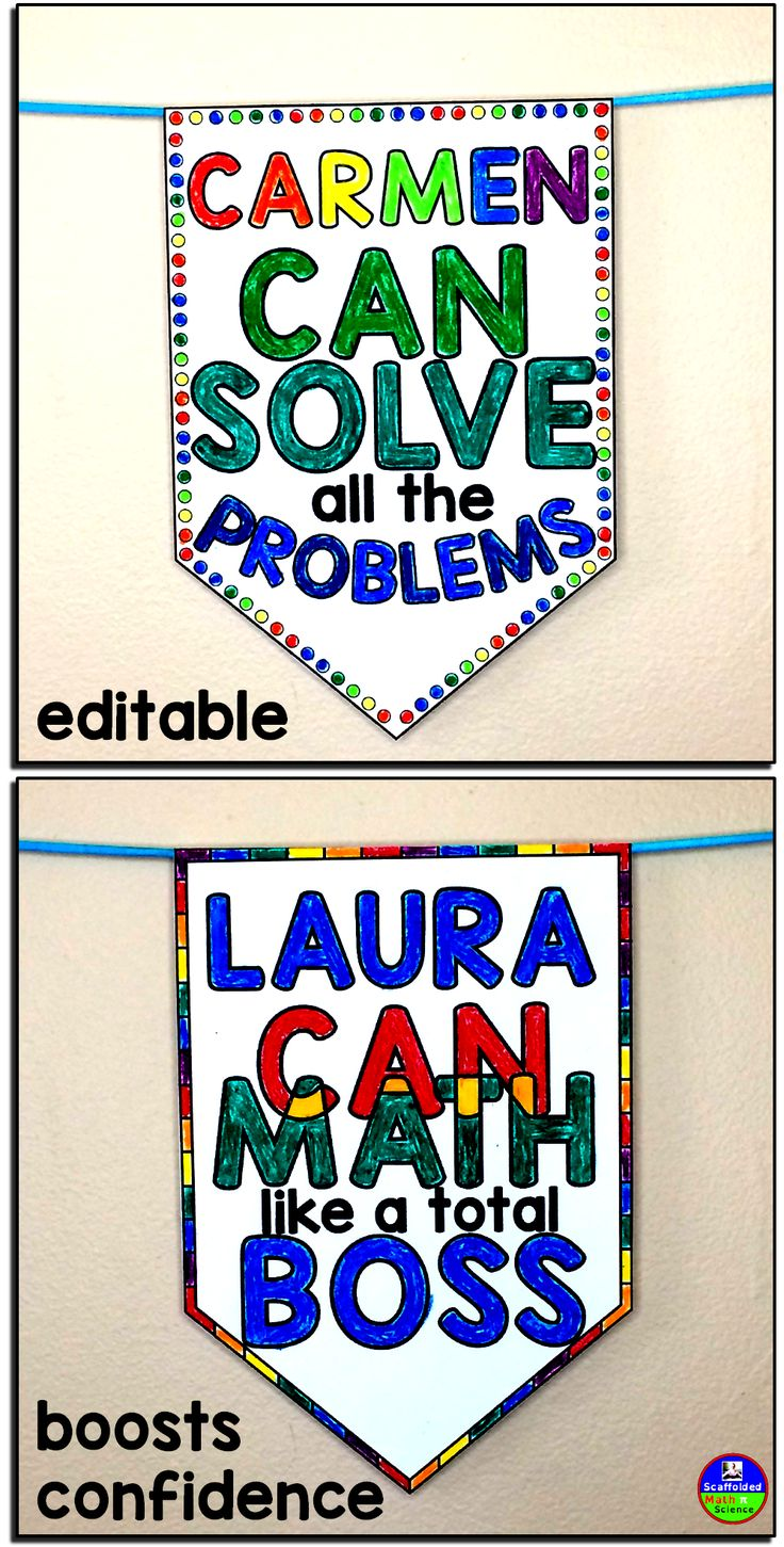 Student confidence is everything when it comes to math. With this download, each student can have their own name printed right onto a pennant that states they CAN do math! First, each student gets a choice board to choose the style they'd like for their pennant. There are 7 styles to choose from. Once students choose, you can type in each student's name onto their chosen pennant. The editable version is a powerpoint file that has a space to type each student's name. There is also a pdf…