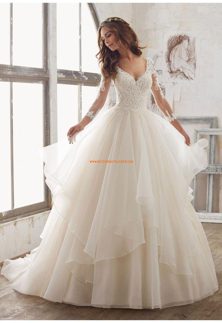 A-linie Wunderschöne Romantische Brautkleider aus Organza mit Applikation