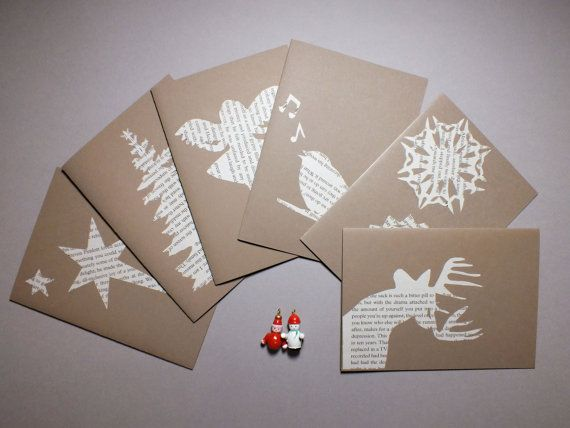 Papercut old book pages Christmas cards