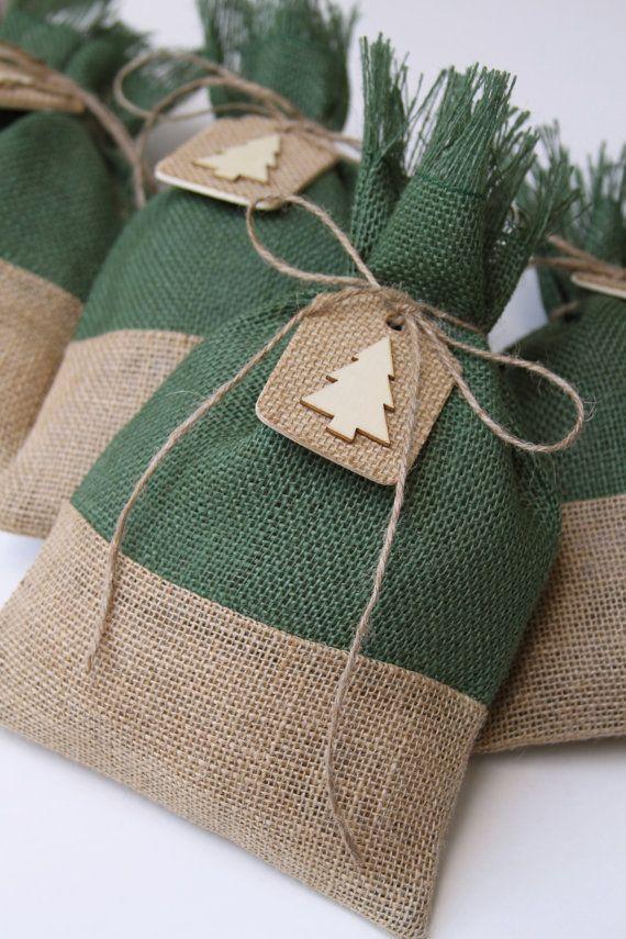 Burlap Gift Bags Christmas Tree Tags Set