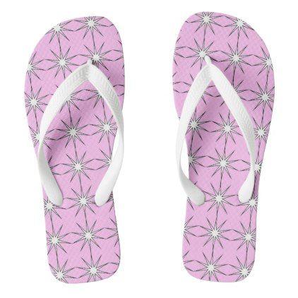 #WHITE STARBURST ON PINK FLIP-FLOP FLIP FLOPS - #womens #shoes #womensshoes #custom #cool