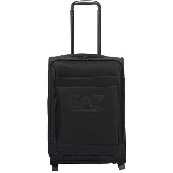 Ea7 Emporio Armani Men Travel Carry-on Suitcase ($195) via Polyvore featuring men's fashion, men's bags, black, mens suitcase, mens travel bag, mens carry on bags, mens bag and mens travel suitcase