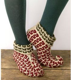 Free Pattern – Elf Slippers! · Knitting   CraftGossip.com--use solid colors, add leaves at top edge