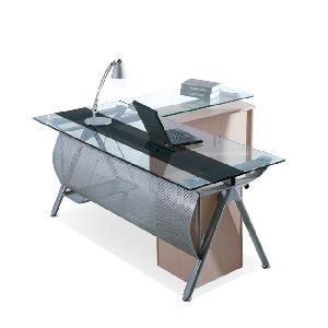 Pama Security sas - Scrivania angolare in metallo con top in vetro 12mm da studio e ufficio