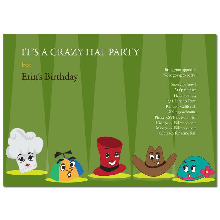 Crazy Hat Party: Theme Party Invitation - Crazy Hat Party