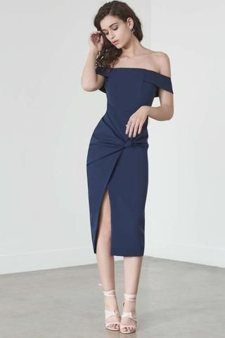 Lavish Alice Knot-Front Bardot Dress in Navy