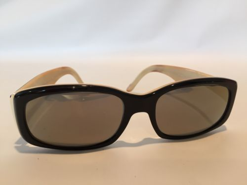 Vintage Ralph Lauren BLACK & CREAM 8015 Womens RX Sunglasses Italy FRAMES ONLY