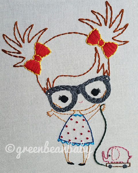 Boy and Girl with glasses Digital Embroidery by greenbeanbaby