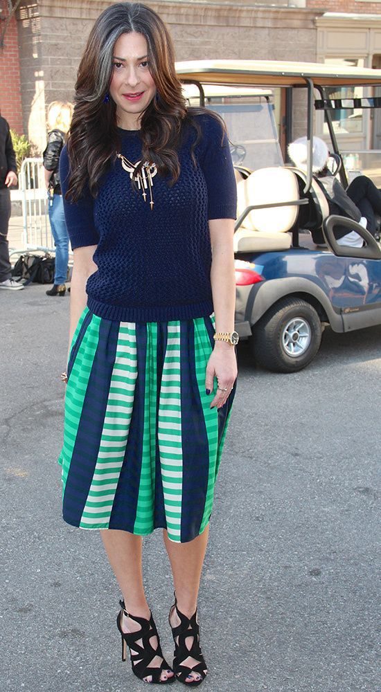 Navy Cable Knit Sweater by Joe Fresh , Blue Green Skirt by Asos #WNTW