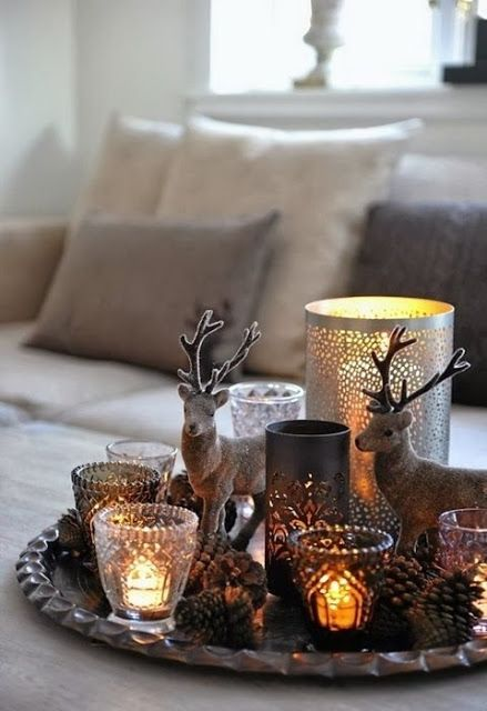 candles, Christmas details all on a silver tray