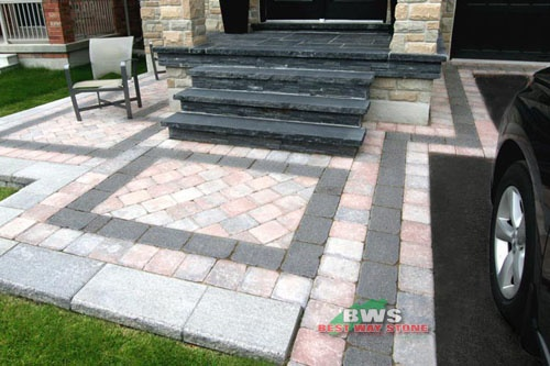 #outdoor #entrance: Best Way Stone > Paver: Strada Antico (Rustic Salmon Mix) / Accent: Strada Nova (Ultra Black) available at our store at 3500 Mavis Rd, Mississauga, ON L5C 1T8