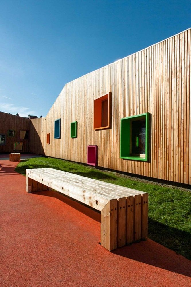 New Building for Nursery and Kindergarten in Zaldibar, Spain | Bench seats + colourful turf