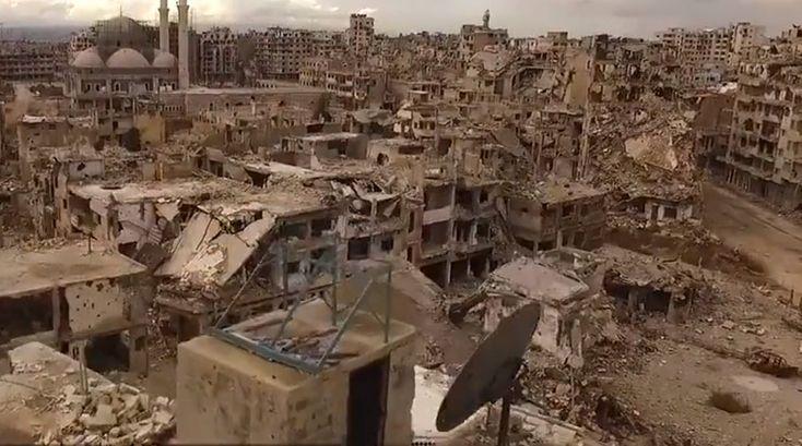 Homs in Syrië, kapotgebombardeerd.