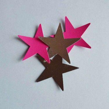 Assortiment étoiles en simili cuir framboise argent