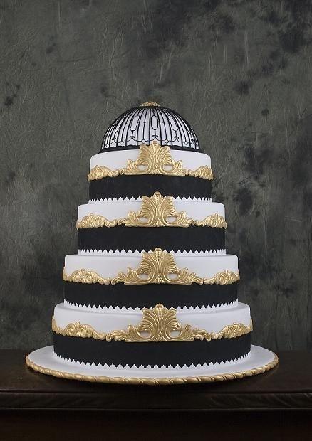Black, white and gold Art Deco wedding cake based on Titanic interior