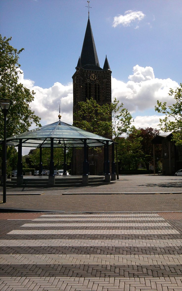 Modern Sint-Petrus' Banden Church, as the old one burned down in 1958 (architect Geenen & Oskam), Kerkplein 5 Son, Netherlands. May 19th 2015