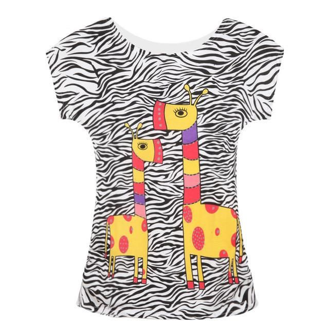Animal Printed Women's Tops Cotton Women T-shirt