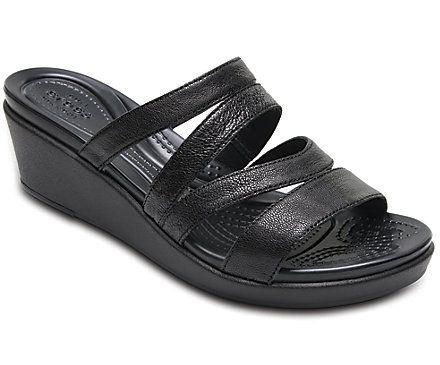 Women's Crocs Leigh-Ann Leather Mini Wedge - Angle