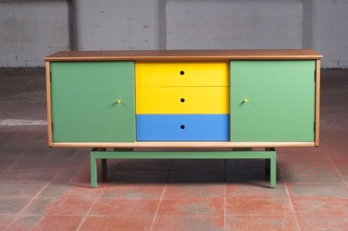 Small SIDEBOARD / Cabinet Teak Vintage Retro * Painted * Danish * Upcycled * 70s