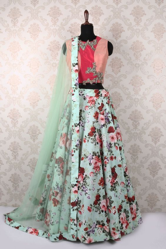 Floral lehenga mint. peach & crimson color blocked crop top with zardozi