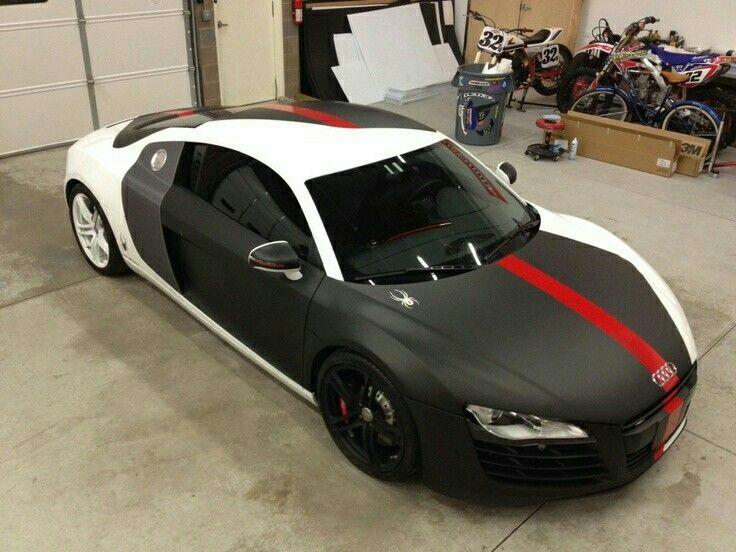 Partial wrap matte black with underlays of carbon fiber vinyl to