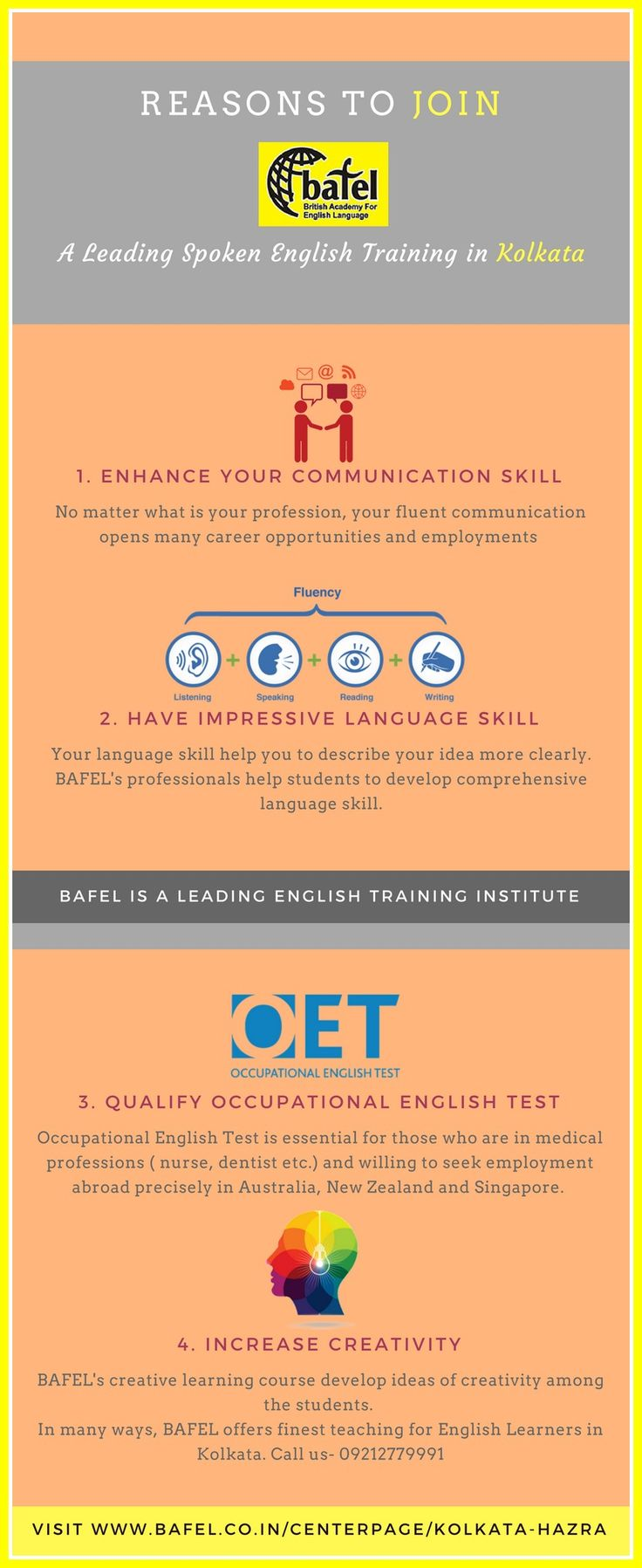 Join BAFEL at Kolkata and enhance your English communication skills. Be the part of the leading spoken English Training Institute in Kolkata.