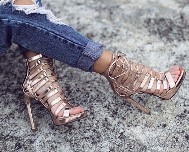 Wheretoget - Rose gold strappy high-heel sandals