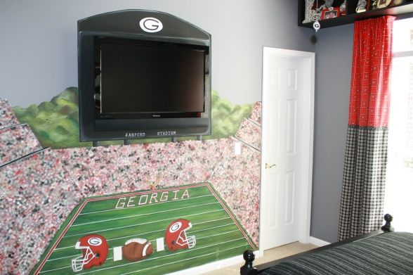 Georgia Bulldogs  Bedroom, This is a handpainted mural of Sanford Stadium of the Georgia Bulldogs.  The scoreboard is a flat panel television., Boys' Rooms Design