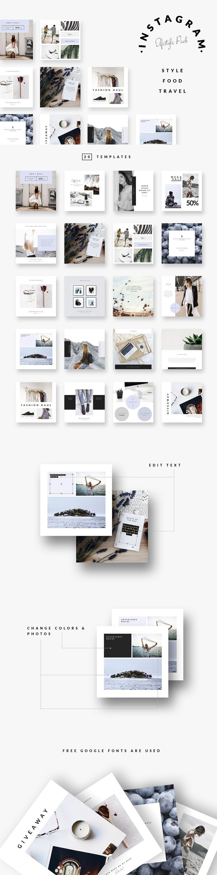 #Freebies : Instagram Pack - STYLE FOOD TRAVEL - These templates are ideal for #fashion, #lifestyle and #traveling #bloggers, boutiques' owners, #photographers, etc. Can be used in various #websites. You can replace text and photos, change #fonts to your favorite ones. Change colors to match your mood or #brand. Requires Adobe #Photoshop. ( #graphics #branding #typography #promotion #socialmedia #Instagram )