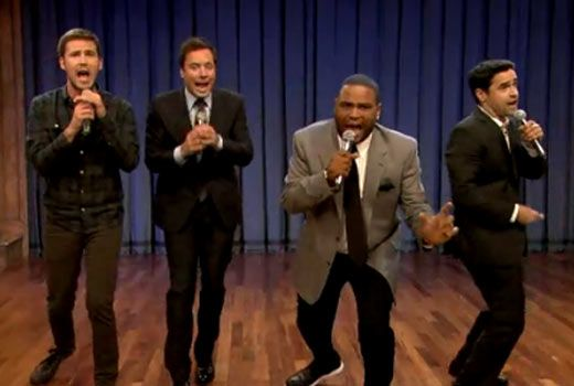 """This might be the greatest video we've watched in months. On Tuesday night's (Sept. 25) """"Late Night with Jimmy Fallon,"""" Fallon and the cast of """"Guys With Kids"""" -- Anthony Anderson, Jesse Bradford and Zach Cregger -- did a medley of TV theme songs from throughout the decades."""