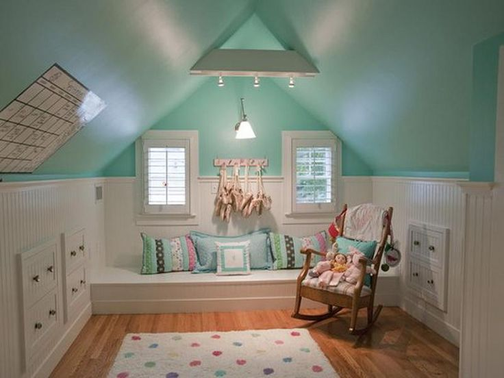 Best attic bedrooms with built ins you could make your - Slanted ceiling paint ideas ...