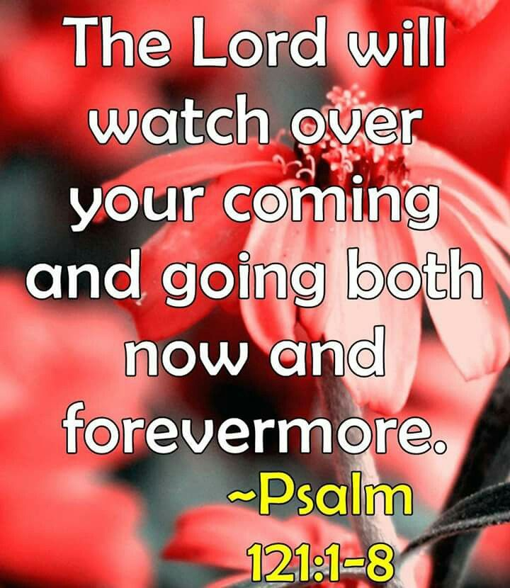 Psalm 121:8  The Lord will keep your going out and your coming in from this time forth and forevermore. (RSV)