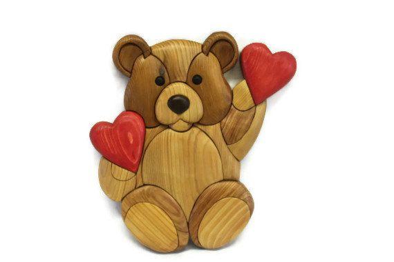 Valentine Teddy Bear Intarsia Wall Hanging by AndersonWoodShop ...