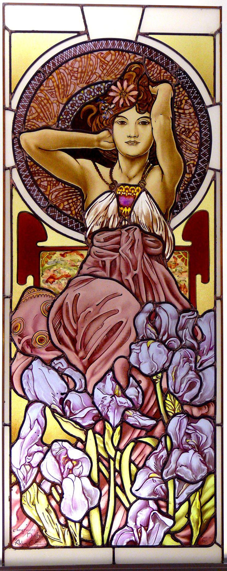 """VETRATE ARTISTICHE rilegata a piombo per finestre o porte Omaggio a Mucha by Adam Cinquanta """"L'Amethyst"""" from """"Four precious stones""""  cm. 55 x 160"""