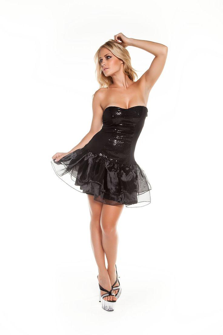 Leg Party SX410 Straplez Pullu Tül Etekli Mini Elbise