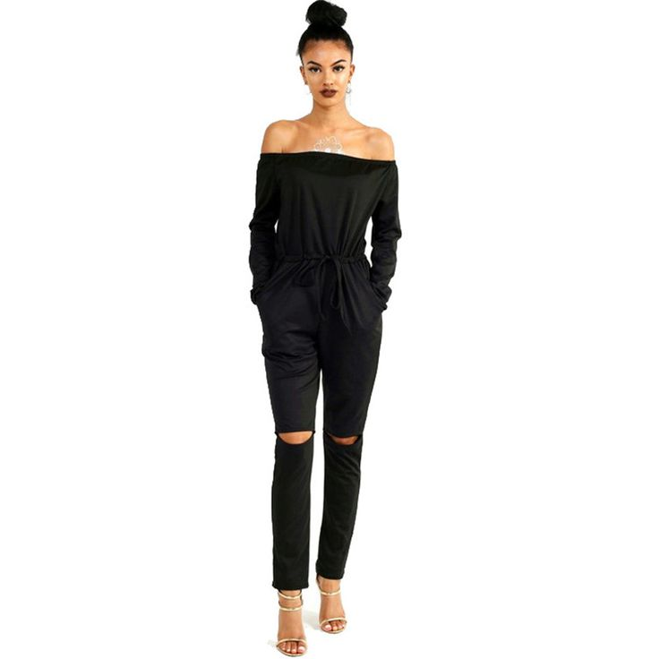Autumn Winter 2016 Sexy Strapless Off Shoulder Jumpsuit Women Long Palazzo Pants Pocket Long Sleeve Fitness Jumpsuits Rompers