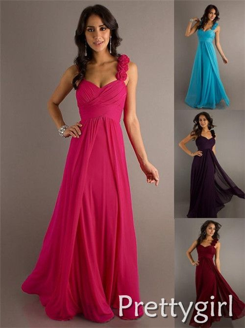 ZJ0010 flower ruffle two shoulder hot pink purple blue black colored chiffon long ball party gown bridesmaid dresses $49.99 - 54.99