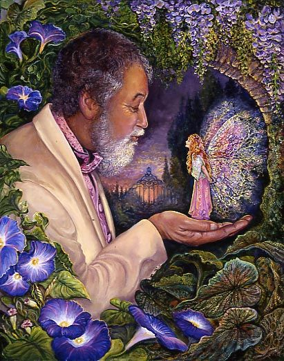 Magic Moment by Josephine Wall  A man wanders outside to take in the cool night air & the perfume of wisteria and morning glory. There beneath an enchanted arch he spots a fairy with gossamer wings flitting past. Putting out his hand he is amazed as she lands gently in his palm. She looks at him with curiosity, and he finds himself compelled to blow her a gentle kiss. They both instantly realise that even though they come from different worlds, they will always remember this magic moment