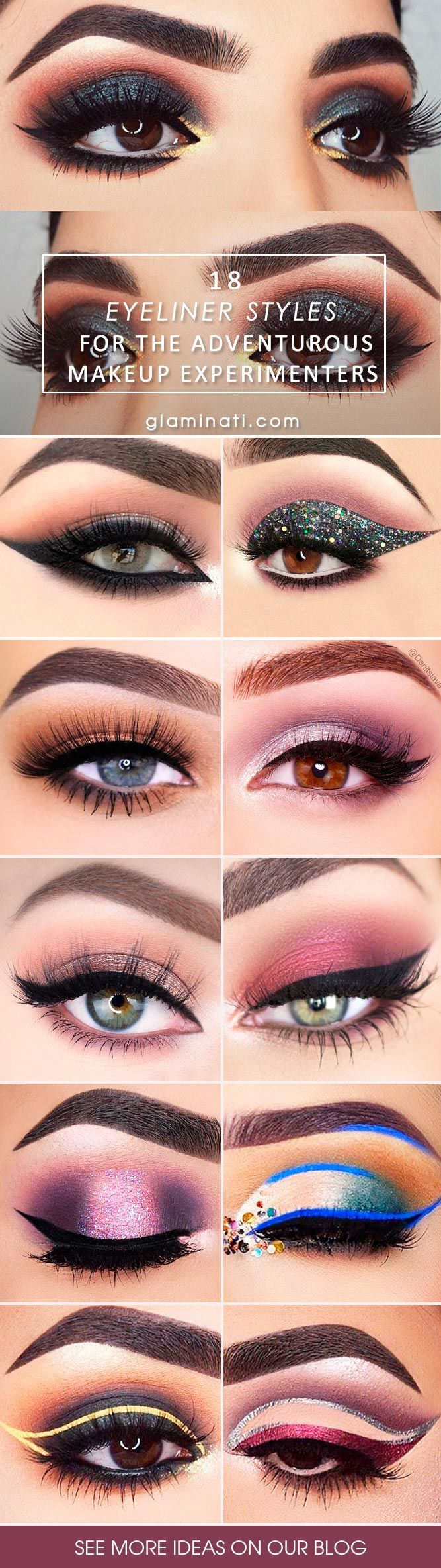 Do you often apply eyeliner? Then you are probably out of ideas already. After learning how to do eyeliner perfectly, it is time to get creative and try bold looks. Express yourself with your makeup. #makeup #makeuplover #makeupjunkie #eyeliner #eyelinerstyle