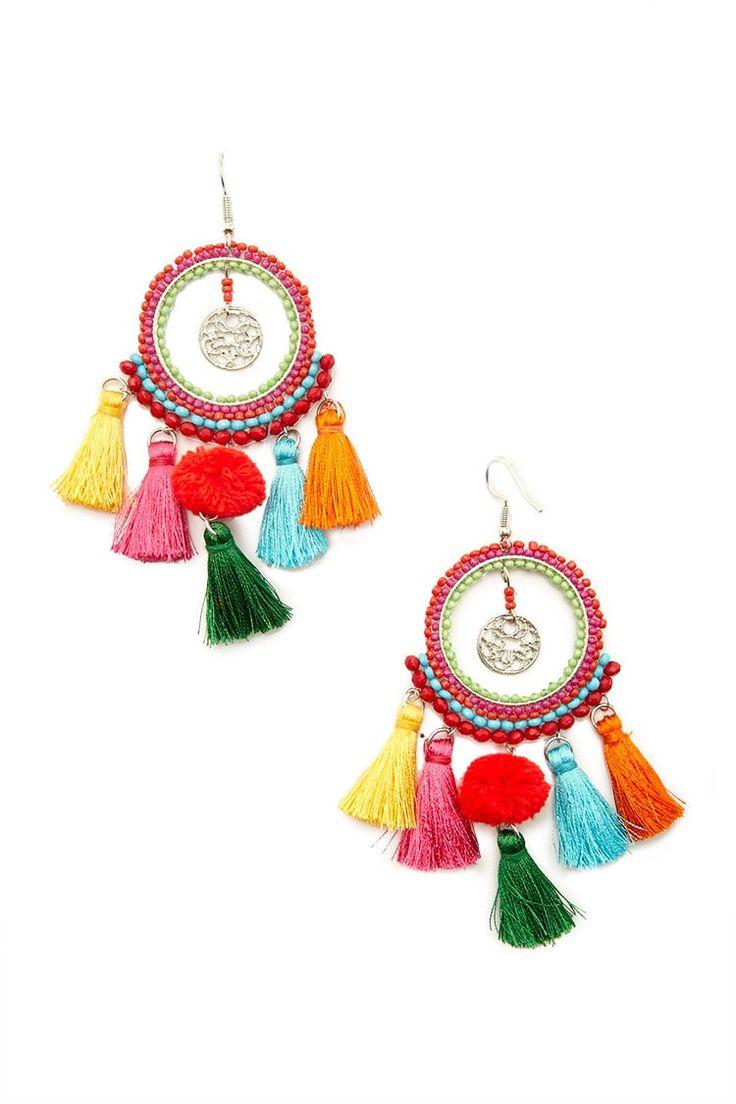 Tassel Trim Drop Hoop Earrings