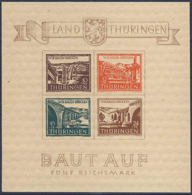 German Russian Occupation, SBZ 1946, Thüringen, Brückenblock, 2. Auflage/Typ IV, postfrisch Pracht, Foto Attest Schulz BPP (postfr., Mi.-Nr.Bl.4cyII/IV, Mi.EUR 550,--). Price Estimate (8/2016): 170 EUR.