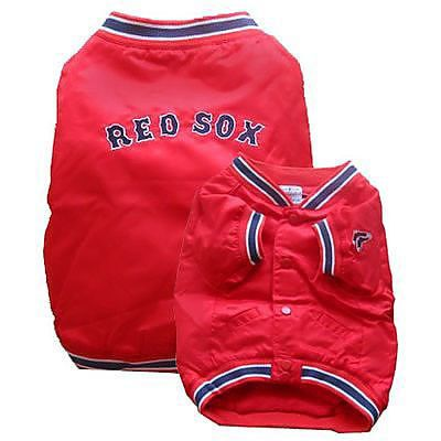 Keep your favorite four-legged fan warm with the officially licensed Boston Red Sox Dugout Jacket for dogs.
