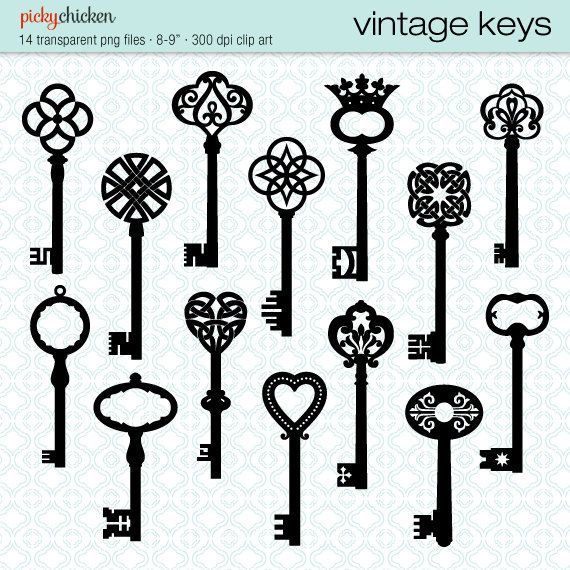 Vintage French Clip Art | Vintage Keys clip art 14 black skeleton key by pickychicken, $4.00 ...