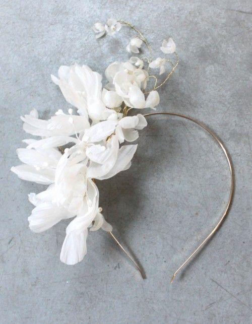 Delikatna i eteryczna opaska z jedwabnych kwiatów różnej wielkości. Może być piękną ozdobą dla Panny Młodej lub druhny. * Ręcznie wykonane kwiaty z jedwabnej organzy w różnych kształtach* Zaplecione na złotym lub srebrnym druciku* Ozdoba może być wykonana także w formie wianka* Giętka i plastyczna, można ją dostosować do każdej fryzury * Dostępna w dowolnym kolorze z bazą w srebrze lub złocie* Pakowana w ozdobne pudełko DecoloveOzdoba dostępna na zamówienie. Możesz określić jej długość oraz…
